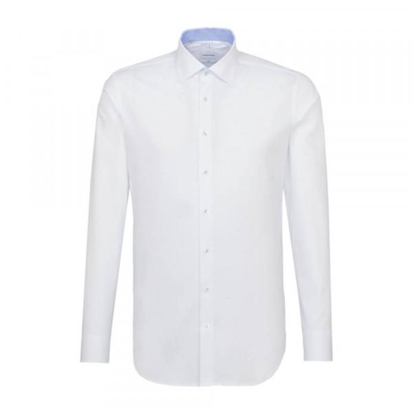 Seidensticker Hemd SLIM FIT PRINT weiss mit Light Kent Kragen in schmaler Schnittform