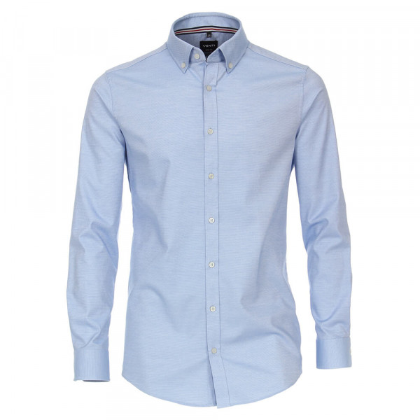 Venti Hemd BODY FIT STRUKTUR mittelblau mit Button Down Kragen in schmaler Schnittform