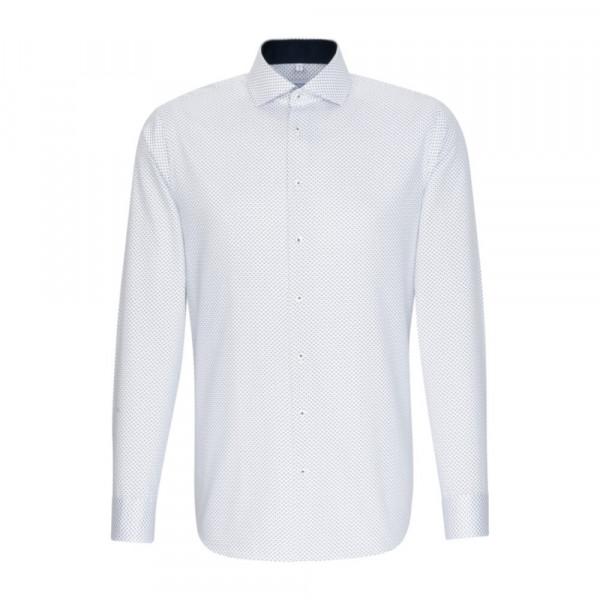 Seidensticker Hemd SLIM FIT PRINT weiss mit Spread Kent Kragen in schmaler Schnittform
