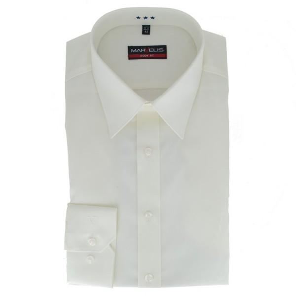 Marvelis BODY FIT Hemd UNI POPELINE beige mit New York Kent Kragen in schmaler Schnittform