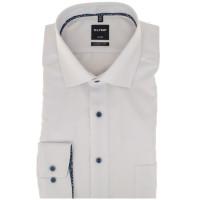 OLYMP Luxor modern fit Hemd STRUKTUR weiss mit Global Kent Kragen in moderner Schnittform