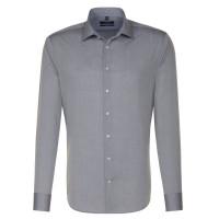 Seidensticker SHAPED Hemd CHAMBRAY grau mit Business Kent Kragen in moderner Schnittform