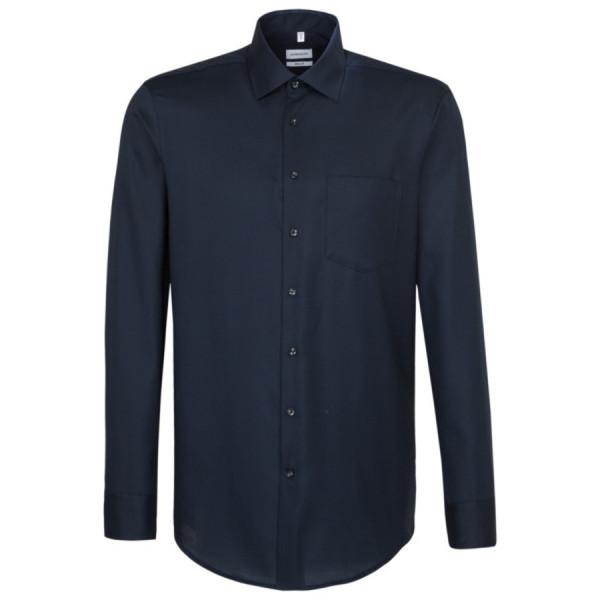 Seidensticker REGULAR Hemd STRUKTUR dunkelblau mit Business Kent Kragen in moderner Schnittform