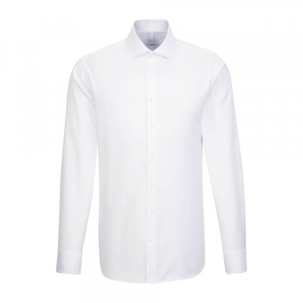 Seidensticker Hemd SHAPED TWILL weiss mit Spread Kent Kragen in moderner Schnittform