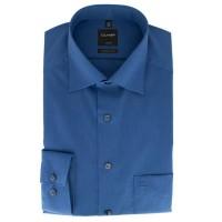 OLYMP Luxor modern fit Hemd CHAMBRAY dunkelblau mit New Kent Kragen in moderner Schnittform
