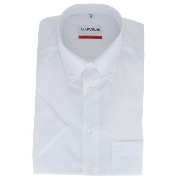 Marvelis COMFORT FIT Hemd UNI POPELINE weiss mit Button Down Kragen in klassischer Schnittform