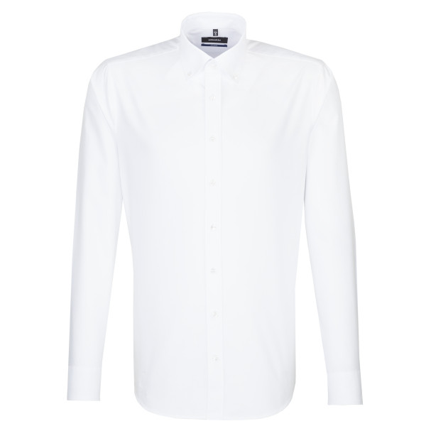 Seidensticker Hemd SHAPED FEIN OXFORD weiss mit Button Down Kragen in moderner Schnittform