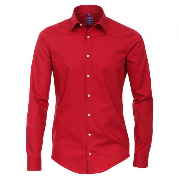 Redmond SLIM FIT Hemd UNI STRETCH rot mit Kent Kragen in schmaler Schnittform