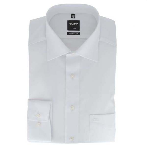 OLYMP Luxor modern fit Hemd UNI POPELINE weiss mit New Kent Kragen in moderner Schnittform