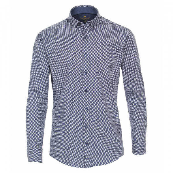 Redmond MODERN FIT Hemd PRINT hellblau mit Kent Kragen in moderner Schnittform