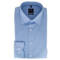 OLYMP Level Five body fit Hemd FAUX UNI hellblau mit New York Kent Kragen in schmaler Schnittform