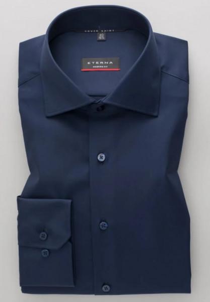 Eterna Hemd MODERN FIT TWILL dunkelblau mit Classic Kent Kragen in moderner Schnittform