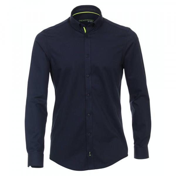 Venti Hemd MODERN FIT UNI POPELINE dunkelblau mit Button Down Kragen in moderner Schnittform