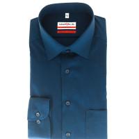 Marvelis Hemd MODERN FIT UNI POPELINE dunkelblau mit New York Kent Kragen in moderner Schnittform
