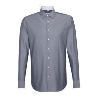Seidensticker Hemd SHAPED CHAMBRAY dunkelblau mit Business Kent Kragen in moderner Schnittform