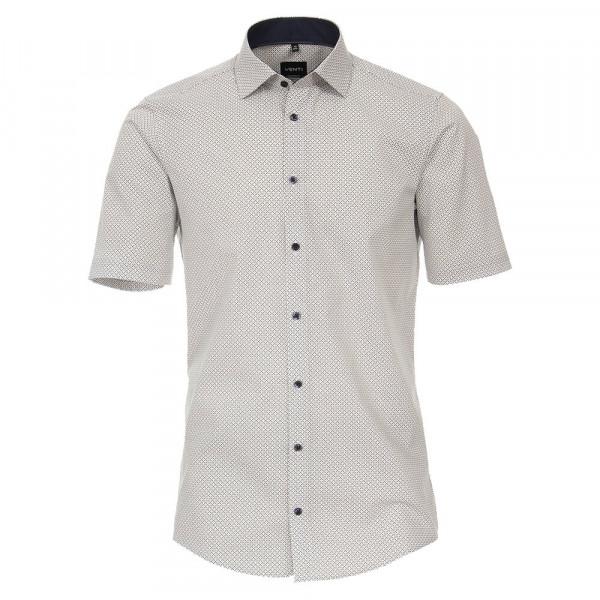 Venti Hemd MODERN FIT PRINT grau mit Kent Kragen in moderner Schnittform