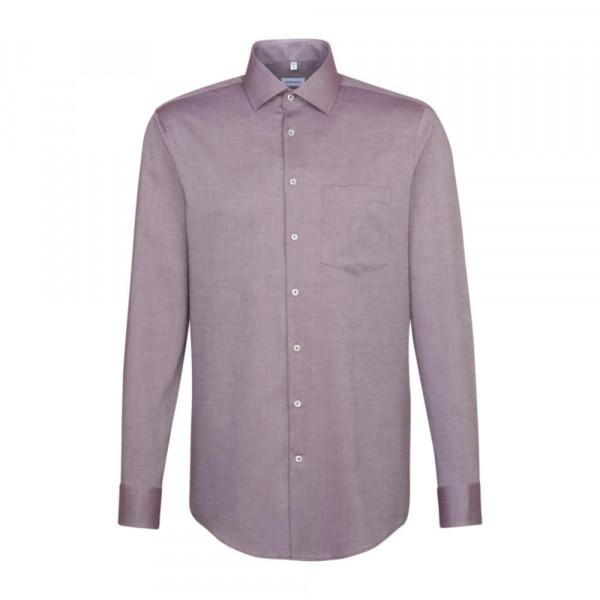 Seidensticker Hemd REGULAR STRUKTUR dunkelrot mit Business Kent Kragen in moderner Schnittform
