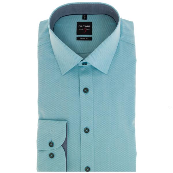 OLYMP Level Five body fit Hemd STRUKTUR hellblau mit Global Kent Kragen in schmaler Schnittform