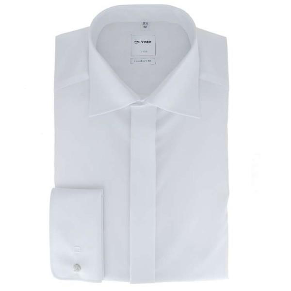 OLYMP Luxor soirée comfort fit Hemd UNI POPELINE weiss mit New Kent Kragen in klassischer Schnittform