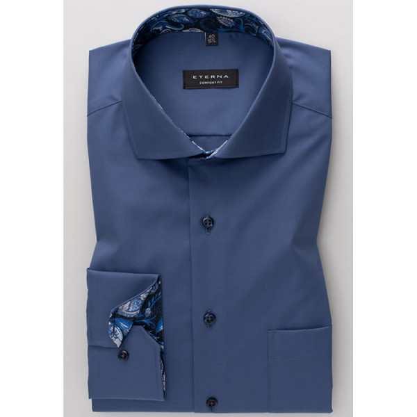 Eterna Hemd COMFORT FIT UNI POPELINE dunkelblau mit Hai Kragen in klassischer Schnittform