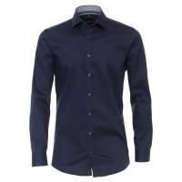 Venti Hemd BODY FIT TWILL dunkelblau mit Kent Kragen in schmaler Schnittform