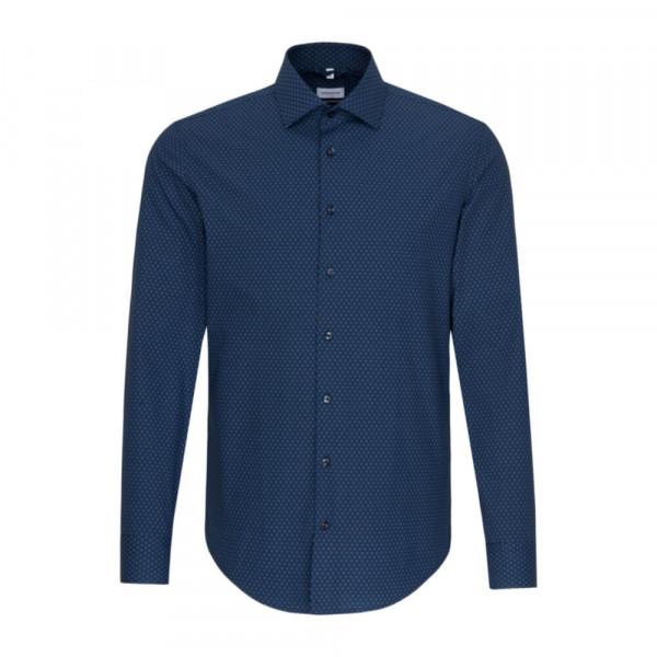 Seidensticker Hemd SLIM FIT PRINT dunkelblau mit New Kent Kragen in schmaler Schnittform