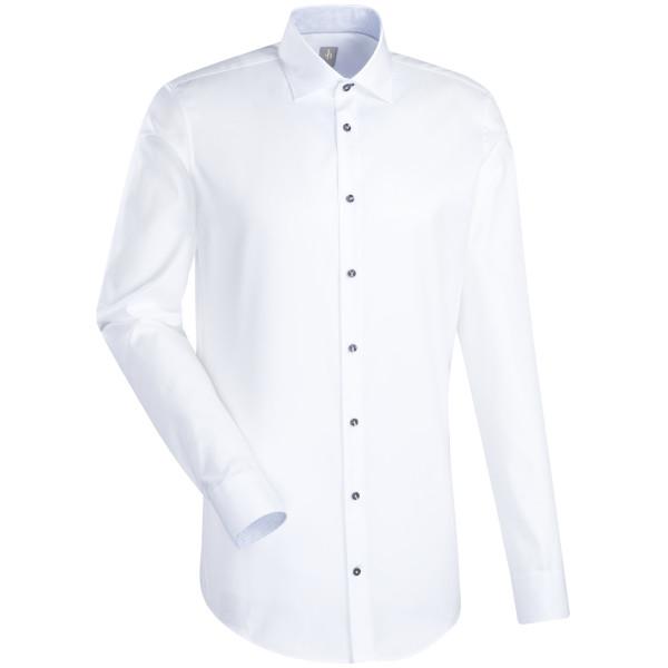 Jacques Britt SLIM FIT Hemd TWILL weiss mit Kent Kragen in schmaler Schnittform