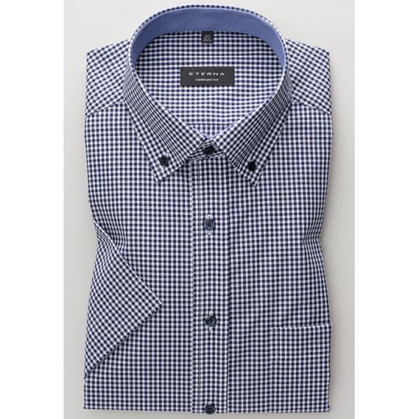 Eterna Hemd COMFORT FIT UNI POPELINE dunkelblau mit Button Down Kragen in klassischer Schnittform