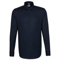 Seidensticker SHAPED Hemd STRUKTUR dunkelblau mit Business Kent Kragen in moderner Schnittform