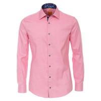 Redmond MODERN FIT Hemd STRUKTUR rosa mit Kent Kragen in moderner Schnittform