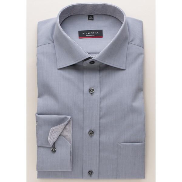 Eterna Hemd MODERN FIT CHAMBRAY grau mit Classic Kent Kragen in moderner Schnittform