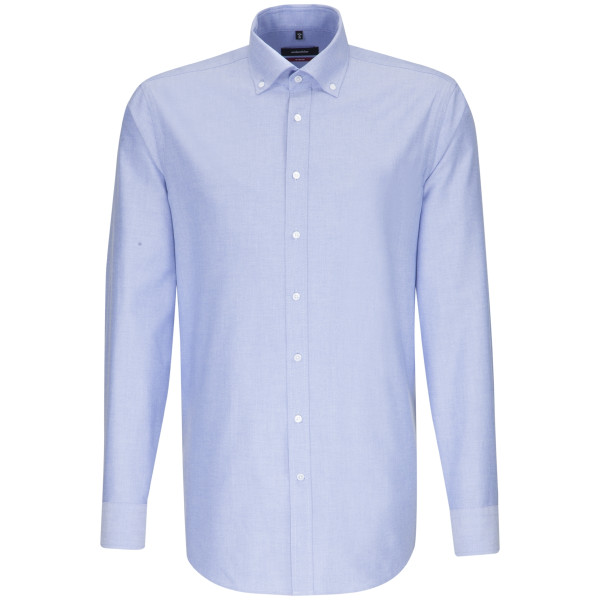 Seidensticker Hemd REGULAR FEIN OXFORD hellblau mit Button Down Kragen in moderner Schnittform