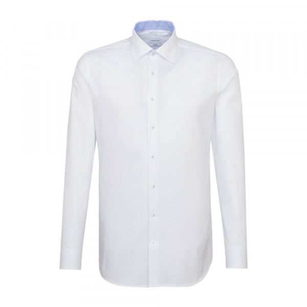 Seidensticker Hemd SHAPED PRINT weiss mit Light Kent Kragen in moderner Schnittform