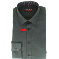Marvelis Hemd BODY FIT STRUKTUR schwarz mit New York Kent Kragen in schmaler Schnittform