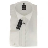 OLYMP Level Five soirée body fit Hemd UNI POPELINE beige mit Kläppchen Kragen in schmaler Schnittform