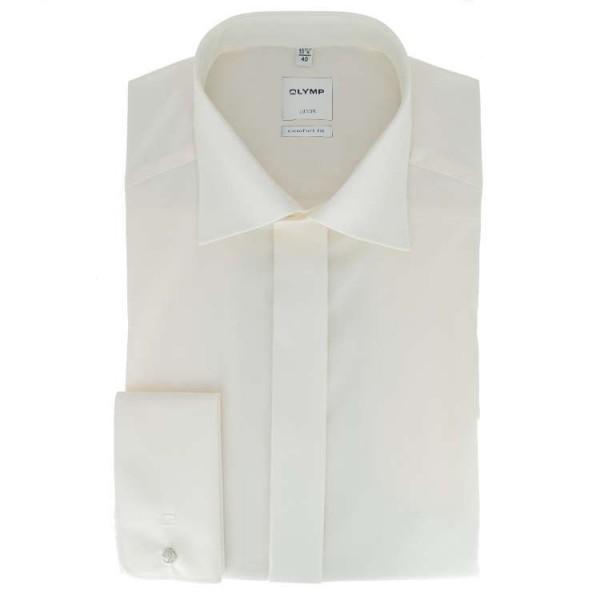 OLYMP Luxor soirée comfort fit Hemd UNI POPELINE beige mit New Kent Kragen in klassischer Schnittform
