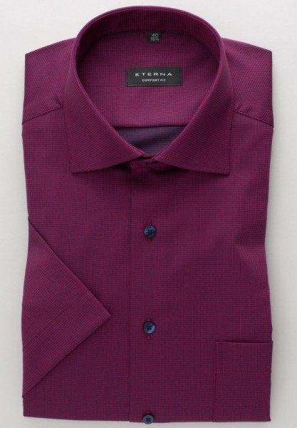 Eterna Hemd COMFORT FIT TWILL STRUKTUR dunkelrot mit Classic Kent Kragen in klassischer Schnittform