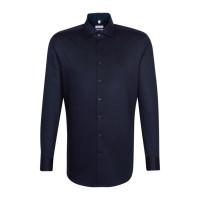 Seidensticker Hemd REGULAR PRINT dunkelblau mit Spread Kent Kragen in moderner Schnittform