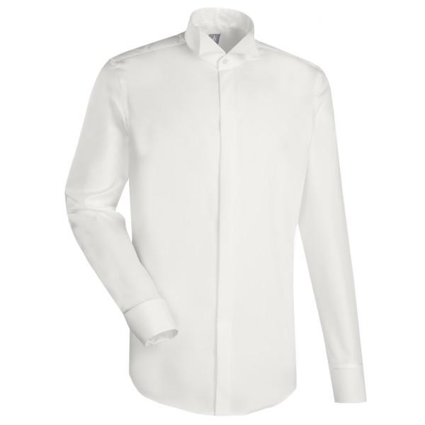 Jacques Britt CUSTOM FIT Hemd UNI POPELINE beige mit Kläppchen Kragen in moderner Schnittform