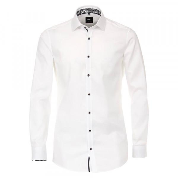 Venti Hemd BODY FIT STRUKTUR weiss mit Kent Kragen in schmaler Schnittform