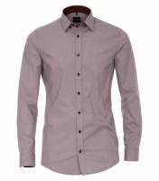 Venti Hemd BODY FIT PRINT dunkelrot mit Kent Kragen in schmaler Schnittform