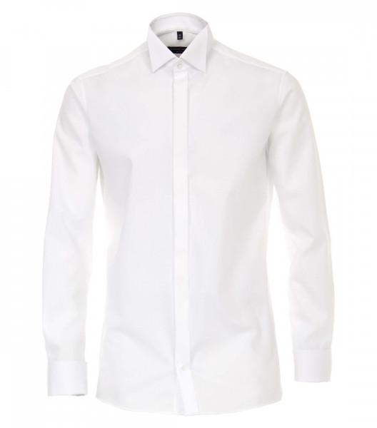 CASAMODA Hemd MODERN FIT UNI POPELINE weiss mit Kläppchen Kragen in moderner Schnittform