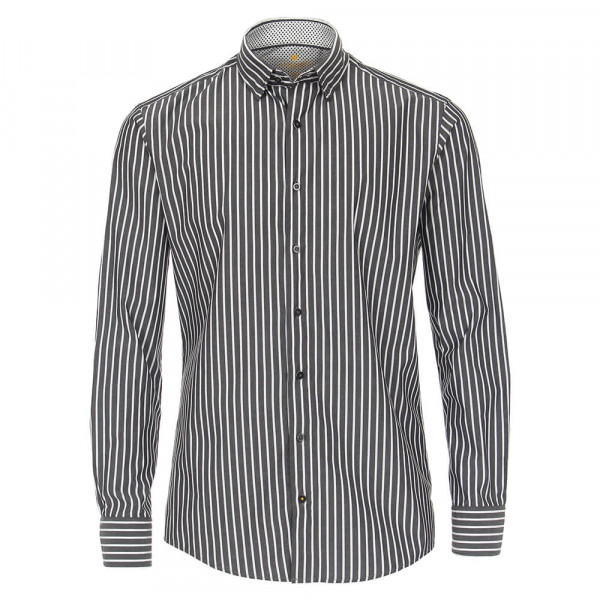 Redmond Hemd MODERN FIT UNI STRETCH grau mit Button Down Kragen in moderner Schnittform