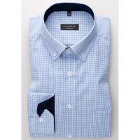 Eterna Hemd COMFORT FIT TWILL KARO hellblau mit Button Down Kragen in klassischer Schnittform