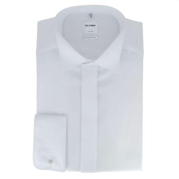 OLYMP Luxor soirée comfort fit Hemd UNI POPELINE weiss mit Kläppchen Kragen in klassischer Schnittform