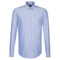 Seidensticker Hemd SHAPED FEIN OXFORD hellblau mit Button Down Kragen in moderner Schnittform