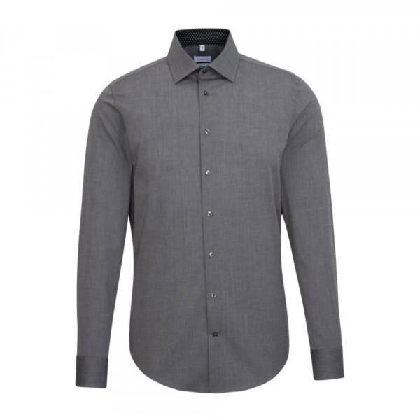 Seidensticker Hemd SHAPED FIL Á FIL anthrazit mit Business Kent Kragen in moderner Schnittform