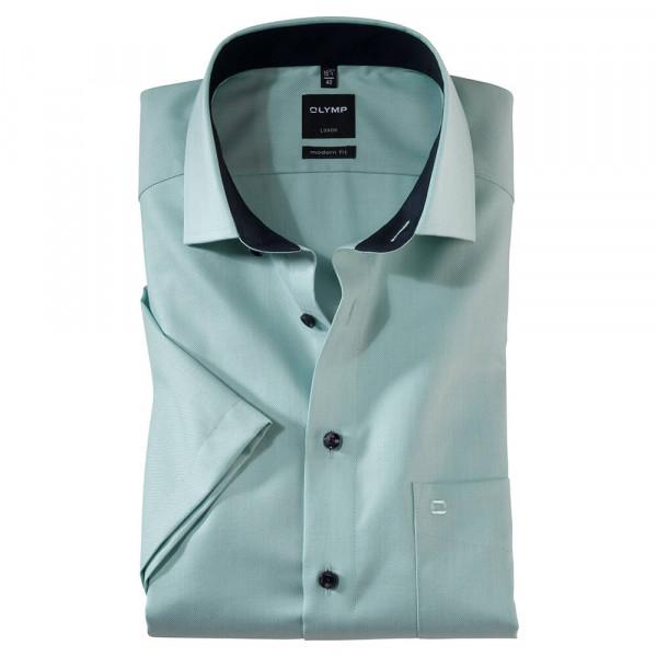 OLYMP Luxor modern fit Hemd FAUX UNI grün mit Global Kent Kragen in moderner Schnittform
