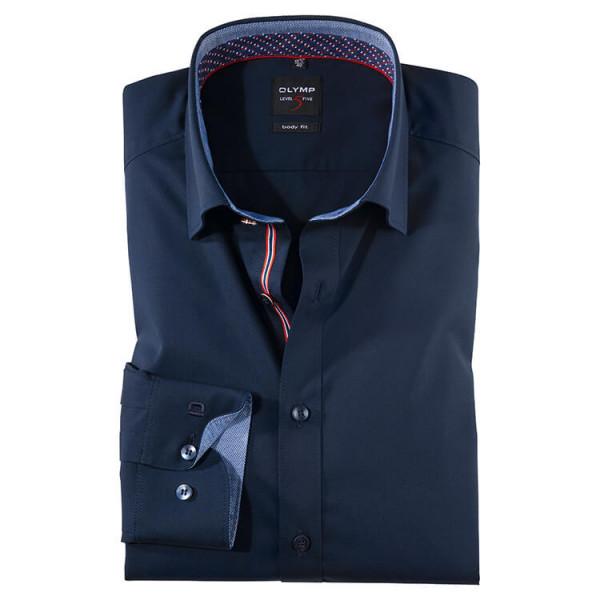 OLYMP Level Five body fit Hemd UNI POPELINE dunkelblau mit Under Button Down Kragen in schmaler Schnittform