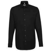 Seidensticker SLIM FIT Hemd UNI POPELINE schwarz mit Business Kent Kragen in schmaler Schnittform